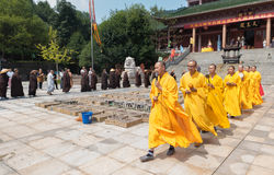 Take a circuitous route-religious ceremonies. In October 3, 2016, the monks and nuns in Jiangxi Jinshan Temple, as well as believers, carried out the release Royalty Free Stock Images