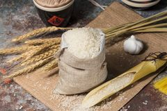 Ripe and harvested rice. Take a closer look at the rice royalty free stock image
