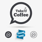 Take a Coffee sign icon. Coffee speech bubble. Stock Photography