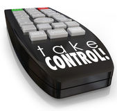 Take Control Remote Assertive Attitude Ambition Confidence. Take Control words on a television remote control to illustrate positive attitude, ambition Stock Image