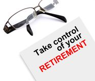 Take control of your retirement. Focus on and take control of your retirement made in 2d software Royalty Free Stock Photography