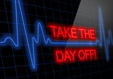 TAKE THE DAY OFF written on black heart rate monitor Stock Photos
