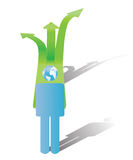 Take a direction with earth in mind. Illustrated stylized man with earth as head choosing a direction to take for the future Stock Photography