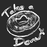 Take a donut chalk art sign Royalty Free Stock Images