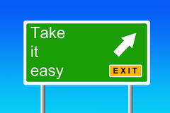 Take it easy. Taking the next exit to take it easy, relax and having a break from it all Royalty Free Stock Images