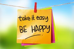 Take it Easy Be Happy royalty free stock images