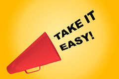 Take it Easy! concept. 3D illustration of TAKE IT EASY! title flowing from a loudspeaker Royalty Free Stock Image