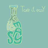 Take it easy. Inspiration illustration. Motivation and inspiration vector illustration with lettering quote. Vintage style typography poster Stock Image