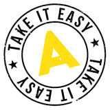 Take It Easy stamp. Grunge design with dust scratches. Effects can be easily removed for a clean, crisp look. Color is easily changed Stock Images