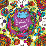 Take it easy why natural seamless pattern. This illustration is drawing abstract take it easy with why sad and why unhappy asking in natural colorful make the Stock Image