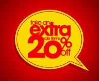 Take an extra 20% off speech bubble. Take an extra 20% off speech bubble coupon Stock Photo