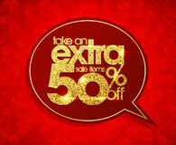 Take an extra 50 percents off, sale speech bubble coupon. Royalty Free Stock Photography