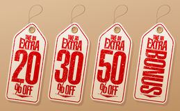 Take an extra various percentages tags. Royalty Free Stock Images
