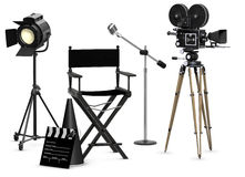 Take Five. Empty movie set with vintage movie gear on a white background Stock Image