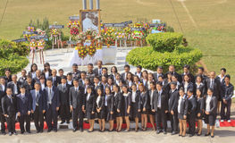Take a group picture after lay wreaths Stock Image