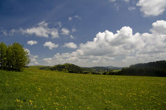 Take a hike!. Blue skies, soft clouds, a green field filled with dandelions.... what is stopping you? Take a hike and bring a friend Stock Image