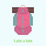 Take a Hike! Pixel art postcard with pink backpack Stock Image