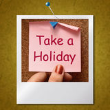 Take A Holiday Photo Means Time For Vacation Stock Photo
