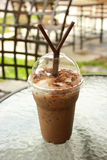 Take-home cup of ice coffee. The ice coffee in cofe shop at Chiang mai University, Thailand Stock Photos