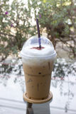 Take-home cup of ice coffee . Stock Photos