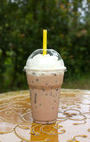 Take-home cup of ice coffee . Royalty Free Stock Photo