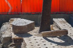 Sewers replaced during the construction of Line 7 of the Metrobu. Take in horizontal format of some culverts that are replaced on the sidewalks of Reforma Avenue Royalty Free Stock Image