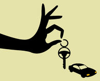 Take the keys for car. Hand holding keys   illustration Stock Photography