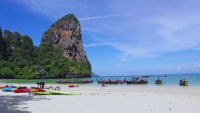 Take a long tail boat to Railay Beach Railay Beach Beautiful beaches and sea stock footage