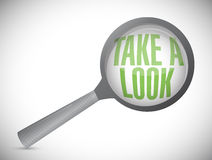 Take a look, under a magnifier. illustration. Design over white Royalty Free Stock Image