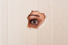 Take me out of here!. Close-up of human eye looking through a hole in a cardboard Stock Photography
