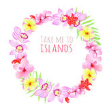 Take me to islands round frame. Design template with flowers. Stock Photography