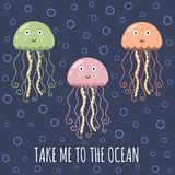 Take me to the ocean card with cute jellyfishes. Cute print for t-shirt and textile design. Vector illustration stock illustration