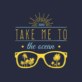 Take me to the ocean vector motivational quote banner. Inspirational poster with vintage sunglasses, palms illustration. stock illustration