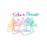 Take a moment. With retro camera Royalty Free Stock Image