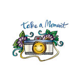 Take a moment. With retro camera Royalty Free Stock Photos