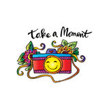 Take a moment. With retro camera Stock Photography