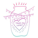 Take my heart. Calligraphic phrase. Heart in a jar. Garland flags. Lettering Royalty Free Stock Images