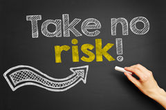Take no risk!. Hand writes Take no risk! on blackboard Royalty Free Stock Photo
