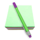 Take Notes!. Blank Post-it notes and a pen stock image