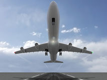 Take off. A plane taking off from an isolated runway illustration Stock Images