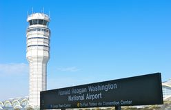 Take Off. Airport control tower at Ronald Reagan National Airport, Washington, DC royalty free stock photos