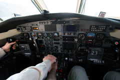 At take off. Inside the flight deck during take-off Stock Image