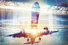 Take off of an aircraft with double exposure of airport Royalty Free Stock Photos
