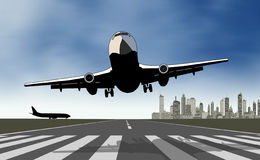 Take off airplane. Face view on take off airplane Royalty Free Stock Images