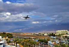 Take-off at Eilat city. Eilat is one of the famous resort cities in the Middle East Royalty Free Stock Photos