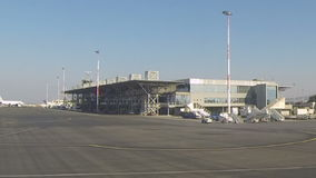 Take off field of Thessaloniki airport stock video