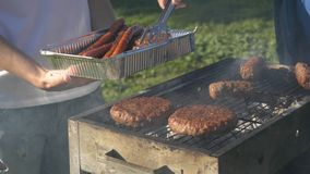 Take off from grill ready sausages and kebabs royalty free stock image