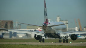 Take Off - A Jet Aircraft Shoots Down The Runway At Full Thrust stock video footage