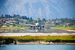 Take-off of the jet from Corfu airport, Greece Stock Photo