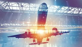 Take off of an aircraft with double exposure of airport Stock Image